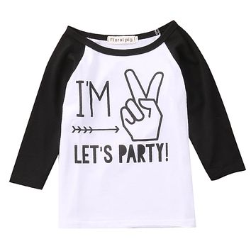 Newborn Infant Kids Baby Boys Cotton long Sleeve Clothes Tee T-shirt Tops Blouse Outfit