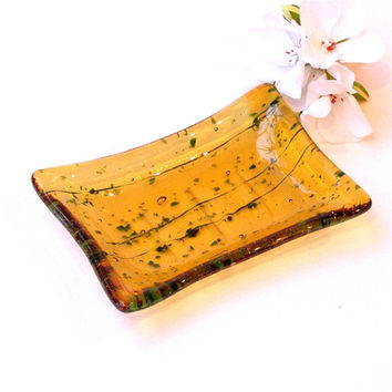 Fused Glass Soap Dish - Jewelry Dish - Kitchen Dish - Amber Gold with Dark Green Flecks
