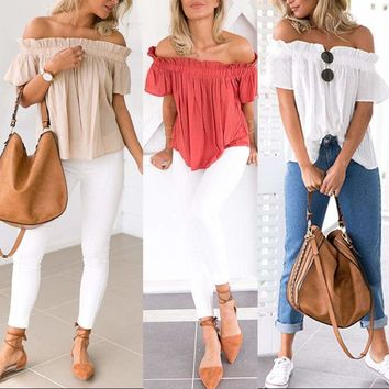 Womens Casual Off the Shoulder Tops Tank Shirt Blouse