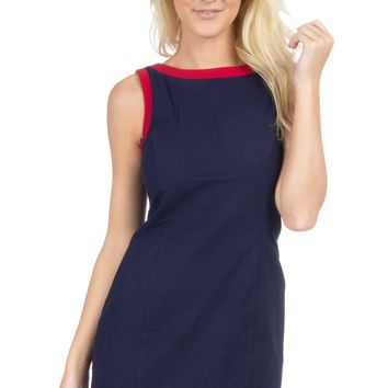 The Harper Solid Seersucker Dress With Trim