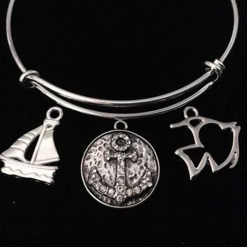 Crystal Anchor Sailboat Fish Nautical Jewelry Expandable Silver Charm Bracelet Adjustable Bangle One Size Fits All Gift Trendy Stacking