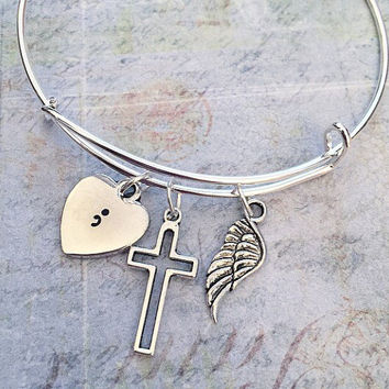 Semicolon Bangle Bracelet FITS WRIST SIZE 6.5 to 8.0 inches , Suicide Awareness Jewelry,Awareness Jewelry,Suicide Silence Jewelry