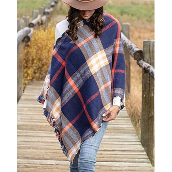 Reversible Button Poncho/Scarf in Navy Plaid
