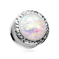 A Pair of Opalescent Adia Filigree Ear Gauge Plug