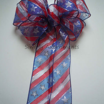 Red White Blue Stars and Stripes Wreath Bow Patriotic Wedding Pew Bow Memorial Day Decor July 4th Wreath Bow Fourth of July Bow