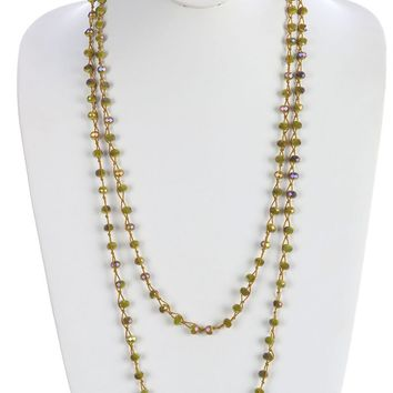 Olive Iridescent Glass Bead Extra Long Wraparound Necklace