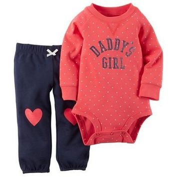Newborn Baby Kids Polka Dot Romper Bodysuit & Pants Suit DADDY'S GIRL 6 9 12 18 24 Months [8833423564]