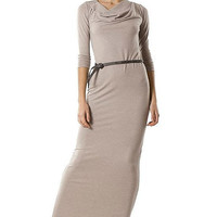 Beige Maxi Dress Jersey,Autumn Collection,Classic and elegant Dress with belt , Dress Day,Office Clothes.