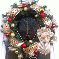 Christmas Wreath Evergreen in Red Gold And Silver