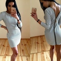 Hot Sale Stripes Round-neck Backless Sexy Dress One Piece Dress [7767304135]