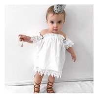 2017 Summer Lace Dress Toddler Baby Girls Off-Shoulder Solid White Princess Girl Party Dress Children Clothes