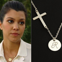 Sterling Silver Cross Initial Necklace. Personalized Monogram Charm. Celebrity Inspired Necklace. 1 2 3 Initial Disc Silver Necklace.