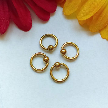 "Gold 14g small 5/16"" hoop captive bead ring body jewelry ear eyebrow rook nose smiley helix lip nipple"