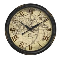 Infinity Instruments The Columbus - Distressed Map Wall Clock