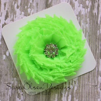 Rosette Hair Clip, Neon Green, Swirl Chiffon Flower, Flower Hairbow, Frayed Chiffon Hairclip, Children's Hair Accessories, Girls Hairbow