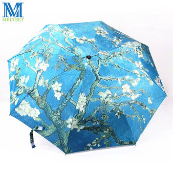 World Famous Oil Paintings Outdoor Beach UV Sun Rain Umbrella Women And Men Unisex Manual Three Folding Umbrellas