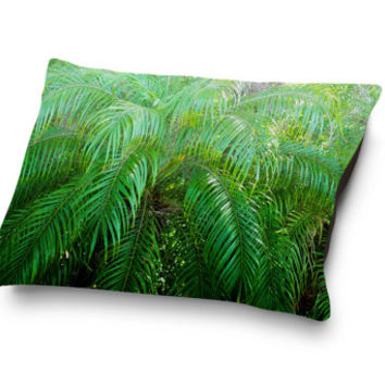 Jungle Palms 3 - Pet Bed, Tropical Green Palm Tree Fronds Bedding Accent Coral Fleece Pet Pillow Bed Decor Accessory. 18x28 30x40 40x50 Inch