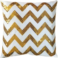 "Decorative Sequins Zig Zag Stripes Pattern Throw Pillow 18"" Gold"