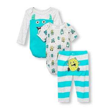 Baby Boys Monster Bodysuits And Striped Pants 3-Piece Playwear Set