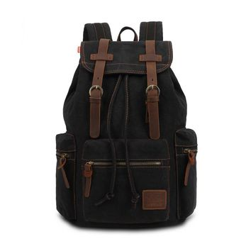 Vintage Men Casual Canvas Leather Backpack Rucksack Satchel  Bag School Bag LT88
