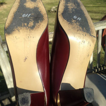 "Vintage Etienne Aigner Leather Oxblood Pumps ~US 8.5 Slim~ Made in Italy, 2.5"" Heels, Red Burgundy Shoes"