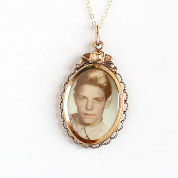 Vintage Art Deco Photographic Pendant Necklace - 1930s 1940s WWII Era Germany Old Stock Gold Filled Historical Celluloid Boy Picture Jewelry