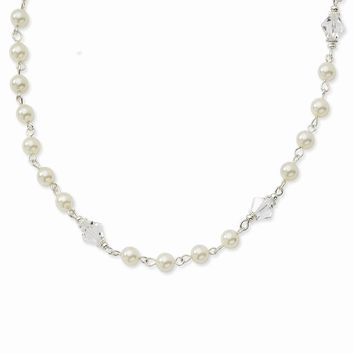 "Silver-tone Cultura Glass Pearl/Crystal Strand 15.5""""w/Ext Necklace"""""