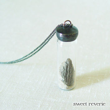 Sand and Driftwood Necklace Nautical Beach Vial Pendant with Real Sand and Driftwood, Boho Eco Jewelry