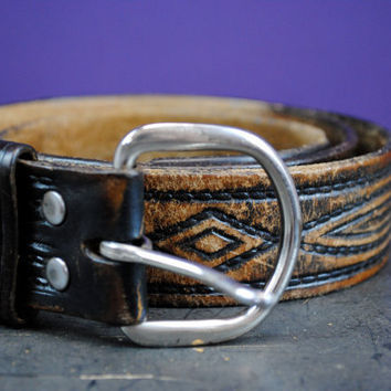 Women's Medium/Large Hand Tooled Leather Belt by fashionMyDarling
