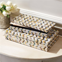 Champagne Chevron Mother of Pearl Mosaic Boxes Set of 2
