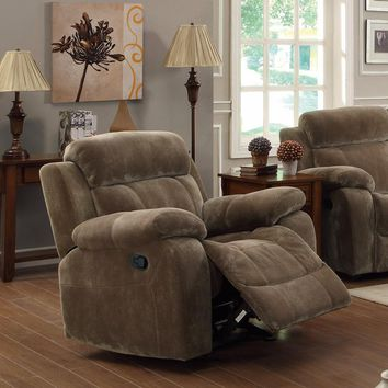 Attractive Glider Recliner with Pillow Arms, Brown
