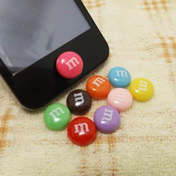 M Chocolate Beans Candy Home Button Sticker For Iphone 344s5ipad 234ipod Touch 2345