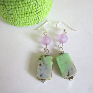 Rectangle Glass Bead Earrings in Lime and Purple by 636designs