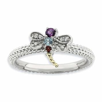 Sterling Silver&14k Stackable Expressions Gemstone & Diamond Dragonfly Ring