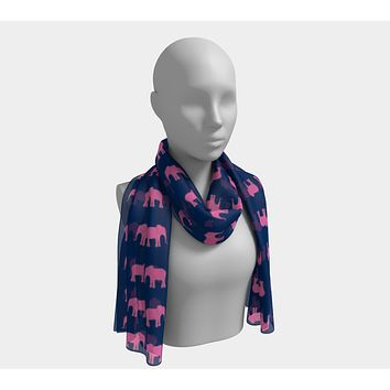 Elephant Long Scarf - Pink on Navy