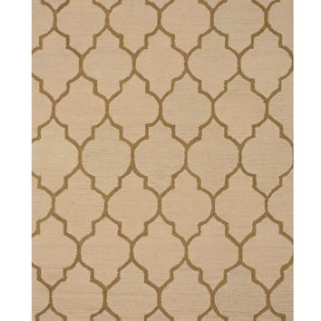 EORC Hand-tufted Wool Light Beige Traditional Trellis Moroccan Rug