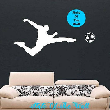 Soccer Wall Decal Action Shot  health Sticker Art Decor Bedroom Design Mural sports lifestyle work out home decor