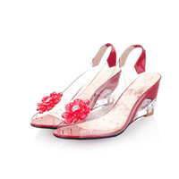Plus Size 34-43 Peep Toe Jelly Shoes Crystal Wedges Heels Transparent Women Sandals Women