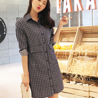 New Arrivals : Korean 2015 Korean long-sleeved plaid shirt dress ghl5107