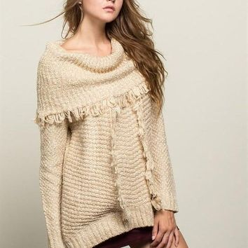 Morning Breeze Oversized Tan Cowl Neck FINAL SALE!
