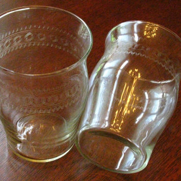 Vintage Needle Etch Glasses Juice Tumblers