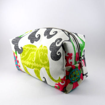Boho Elephant and Flower Large Lined Makeup Bag with Metal Zipper, Gadget Case Pencil Case, Zippered, Cosmetics, For Her Under 20