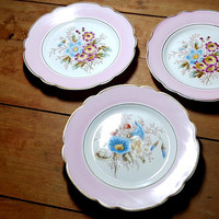 Vintage Pink Floral Plates Set of 3 Hand Painted Transfer Early 1900s Shabby Cottage Farmhouse