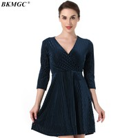 BKMGC New Arrive Winter Women Dress Sexy Casual Striped Sweet Women's Dresses High Quality Knee-Length Vintage Ladies Clothing