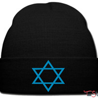star of david beanie knit hat