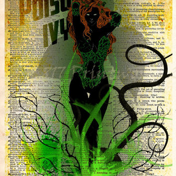 Poison Ivy Print, Vintage pop art, Retro Super Hero Art, Dictionary print art