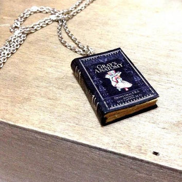 Gray's Anatomy Handmade Miniature Little Book charm Silver Necklace / Vintage look  / Television Serial /Perfect Gift idea for Book Lovers!
