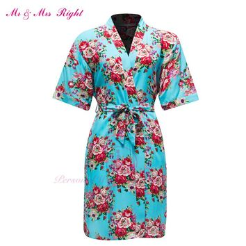 Fashion Cotton Short Robe Printed Flower Nightgown Wedding Bride Bridesmaid Girl Dress Pajamas Bathrobe Kimono