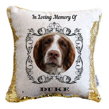 In Loving Memory For Pets Personalized Photo Sequin Pillow