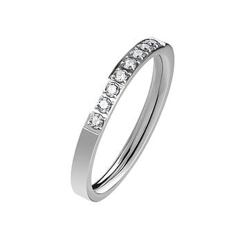 Everlasting Silver - Women's Stainless Steel Ring With Clear CZ Stones